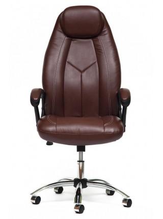 Кресло BOSS (хром) кож/зам, коричневый/коричневый перфорированный, 2 TONE/2 TONE /06