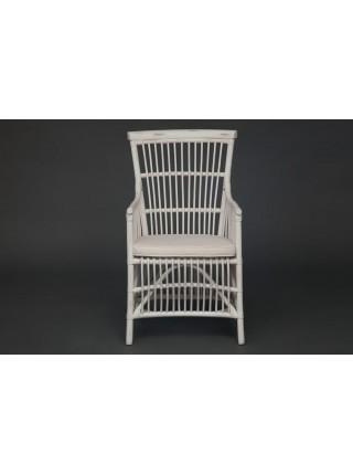 Кресло Secret De Maison RIVIERA с подушкой натуральный ротанг, 56х57х100см, белый+натуральный дистресс