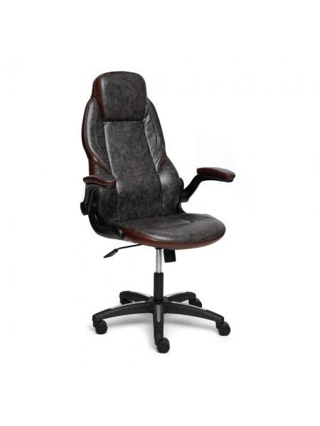 Кресло BAZUKA кож/зам, серый/коричневый, 2TONE/2TONE перф/2TONE