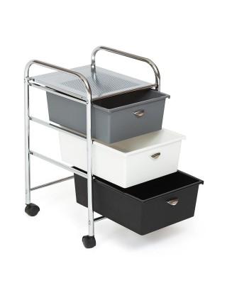 Столик c 3 ящиками для хранения NY-3296-3 металл/пластик, 39х33х59,5см, хром, черный/белый