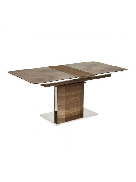 "Стол RADCLIFFE( Mod. EDT-VG002) мдф high glossy, закаленное стекло, 140/170х90х75см, коричневый, стекло ""burning stone"""