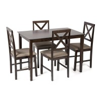 Обеденный комплект эконом Хадсон (стол + 4 стула) cappuccino