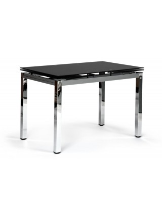 Стол CAMPANA ( mod. 346 ) металл/стекло (8мм), 110/170 х 70 х 76 см, хром/черный