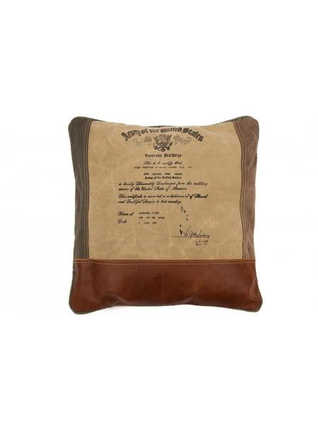 Подушка Secret De Maison THOMAS ( mod. M-7043 ) кожа буйвола / ткань, 40 х 40см, коричневый, ткань: винтаж