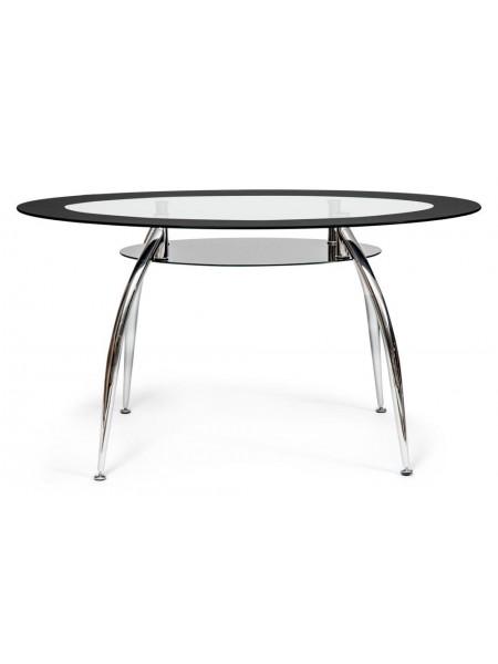 Стол SADLER ( mod. 445 ) металл/стекло (8мм), 140х80х75см, хром/черный