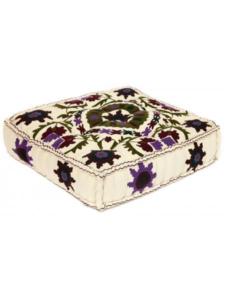 Модуль мягкий Secret De Maison MAHARAJA (mod. MA-106) cotton Kilim, 80х80х20см, белый с цветами