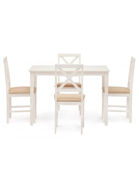 Обеденный комплект эконом Хадсон (стол + 4 стула)/ Hudson Dining Set дерево гевея/мдф, стол: 110х70х75см / стул: 44х42х89см, Ivory white, ткань кремовая (HE490-01)