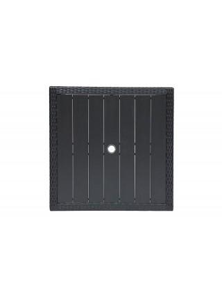 Обеденный сет (стол+4стула) (mod. 210036) пластиковый ротанг, 100х100х74см/60х60х75см, черный, ткань: DB-16, серый