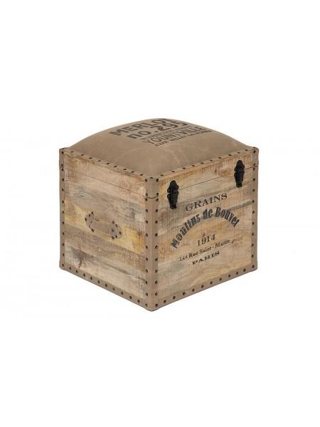 Пуф - сундук Secret De Maison PERRET (mod. M-540 ) дерево манго/ткань хлопок, 45*45*50, натуральный, ткань: винтаж