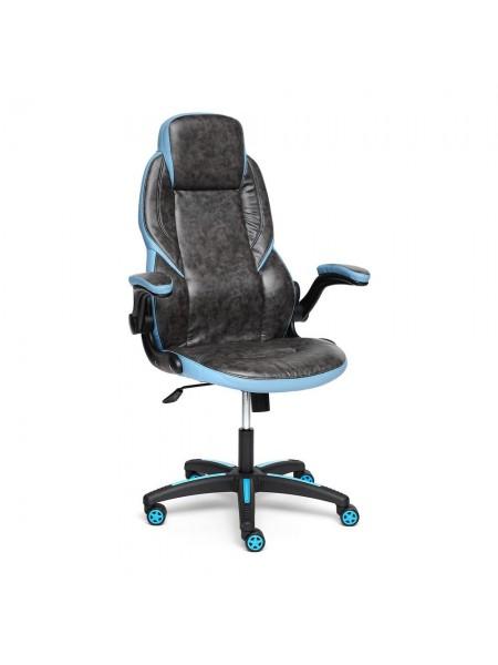 Кресло BAZUKA кож/зам, серый/голубой, 2TONE/2TONE перф/04-20