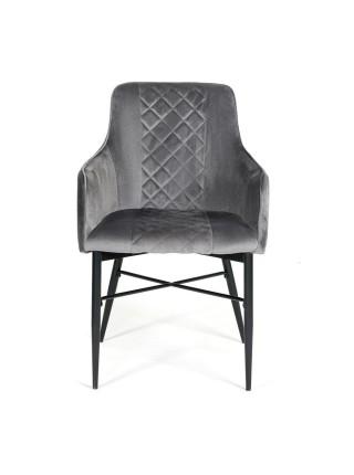 Кресло FORZA (mod.5175-2) металл/вельвет, 58 x 59,5 x 88 см, серый/черный