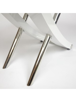Стол ARNO (mod.EDT-H016) мдф high gloss, закаленное стекло, металл, 120х80х75см, Белый (White)