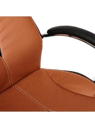 Кресло GLOSS хром кож/зам, коричневый/черный, 57