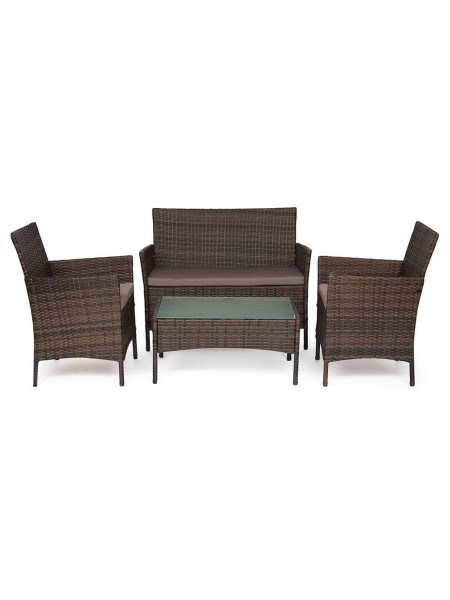 Лаундж сет (диван+2кресла+столик+подушки) (mod. 210013 А) пластиковый ротанг, 108х62х83см/60х62х83см/80х48х39см, темно-коричневый, ткань DB-18 серый