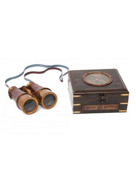 Бинокль в деревянной подарочной коробке с компасом и латунным декором Secret De Maison( mod. 48366 ) латунь/дерево/кожа, 8х15х14см, античная медь/коричневый