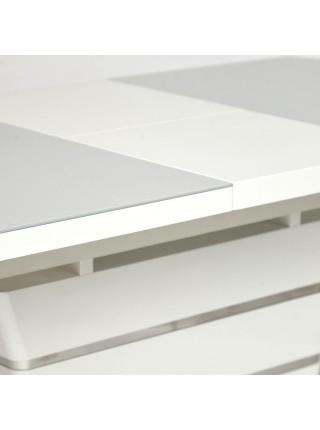 Стол SCHNEIDER ( mod. 0704 ) мдф high glossy, закаленное стекло, 120/160х80х76см, белый
