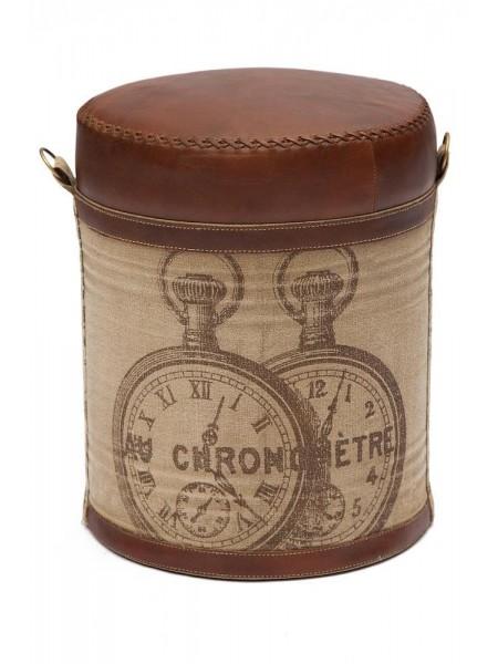 Пуф Secret De Maison CHRONO ( mod. M-6409 ) металл/кожа буйвола/ткань хлопок, 46 хD36см, коричневый, ткань: винтаж