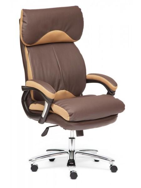 Кресло GRAND кож/зам/ткань, коричневый/бронзовый, 36-36/21