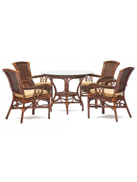 """Комплект обеденный """"ANDREA"""" ( стол + 4 кресла ) Pecan Washed (античн. орех), Ткань рубчик, цвет кремовый"""