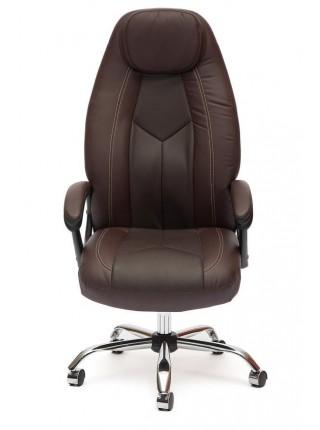 Кресло BOSS (хром) кож/зам, коричневый/коричневый перфорированный, 36-36/36-36/06