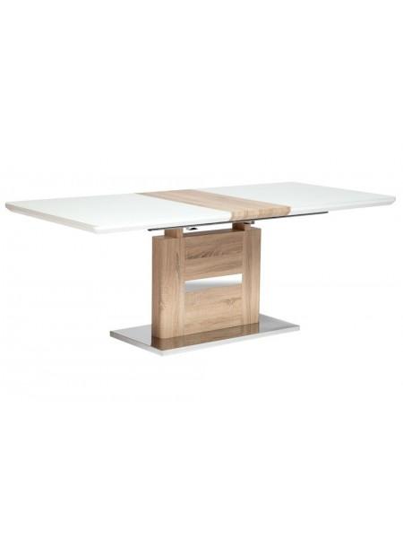 Стол FOSTER ( mod. 8070 ) high glossy, закаленное стекло, 160/200x90х75см, дерево/белый