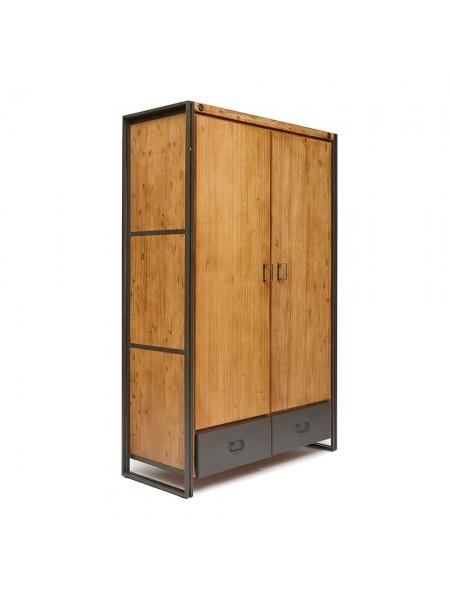 Шкаф Secret De Maison CITY ( mod. CTY B06 ) металл/дерево акация, 140х60х220см, коричневый дым (smoke brown B034)