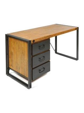 Стол письменный Secret De Maison CITY ( mod. CTY L09-3D ) металл/дерево акация, 140х60х74см, коричневый дым (smoke brown B034)