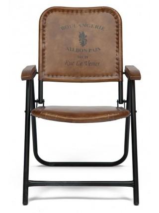 Кресло складное Secret De Maison TAKOMA ( mod. 2111 ) металл/кожа буйвола, 57*73*88 см, Античный светлый