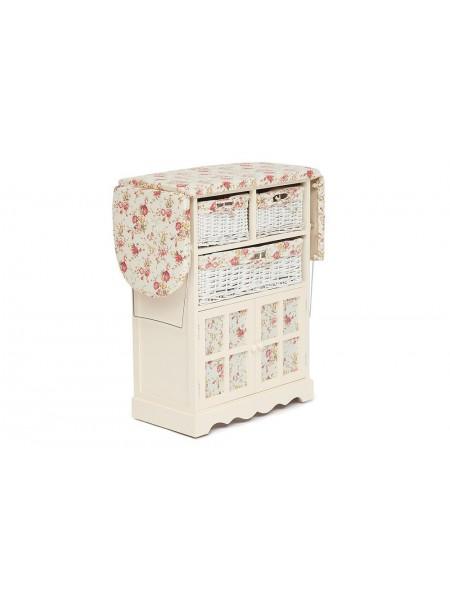 Гладильный комод PE-03 / с 3 ящиками / белый, ткань В 157