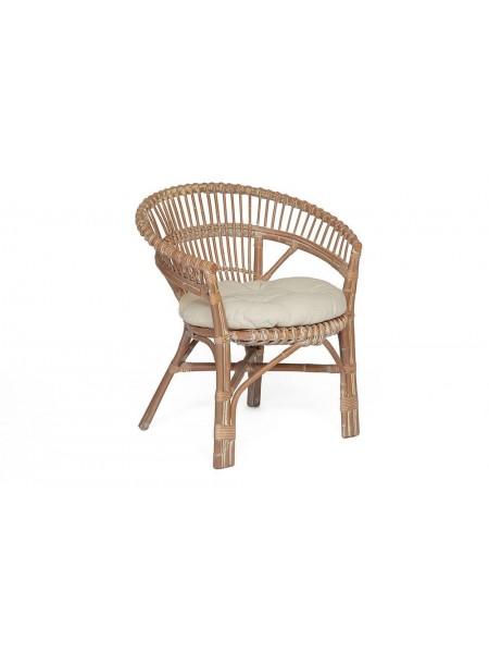 Кресло Secret De Maison Koln с подушкой, натуральный ротанг, 73*69*82 см, Натуральный + white wash