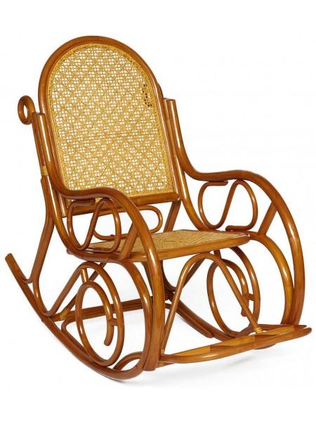Кресло-качалка MILANO (разборная) / без подушки / ротанг top quality, 58x136x103 см, pecan matted black washed