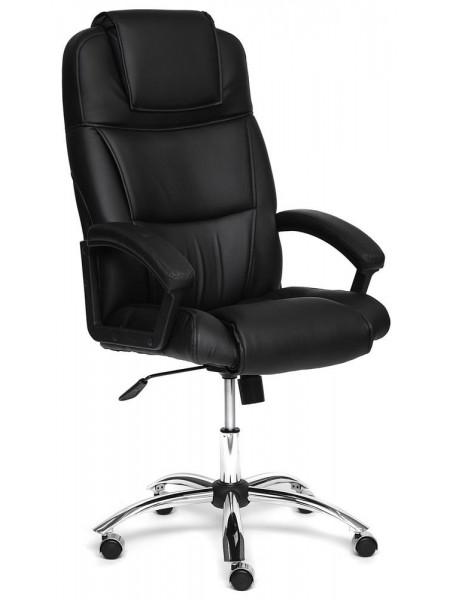 Кресло BERGAMO (хром) кож/зам, Черный, 36-6