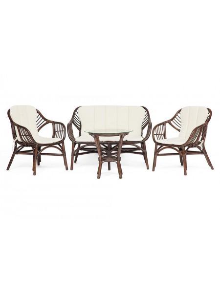 Комплект для отдыха SONOMA ( стол круглый (со стеклом)+2 кресла+диван ) ротанг, кр:63х69х79см, дв:112х69х79см, ст:D50х56,5см, walnut (грецкий орех)