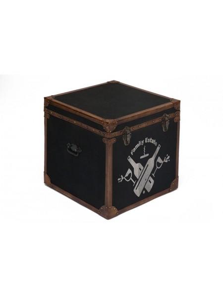 Столик - сундук Secret De Maison BORDEAUX ( mod. 2002 ) дерево манго/кожа буйвола/ткань, 45х45х45см, коричневый, ткань: черный винтаж