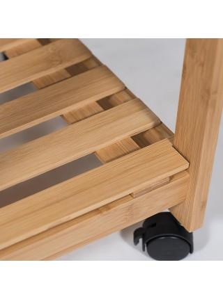 Столик передвижной кухонный разделочный (mod. 12JW3-2135) прессованный бамбук, 37х37(91)х82см, натуральный