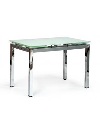 Стол CAMPANA ( mod. 346 ) металл/стекло (8мм), 110/170 х 70 х 76 см, хром/белый