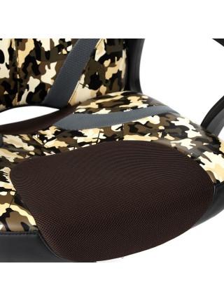 Кресло RUNNER MILITARY кож/зам/ткань, хаки/коричневый/серый
