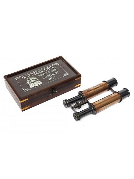 Бинокль в подарочной коробке Secret De Maison mod. 47665 ) латунь/дерево манго, 23х13х5.5см, античная медь/коричневый