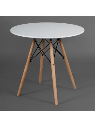 Стол CINDY NEXT (mod.80-MDF) металл/мдф/бук, D80х75см, белый/натуральный