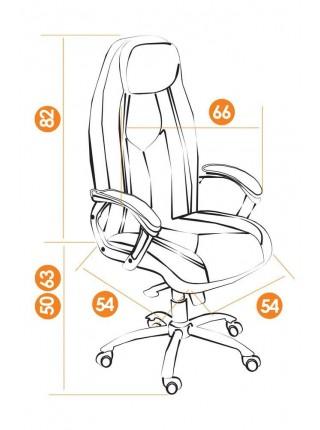 Кресло BOSS люкс (хром) кож/зам, коричневый/коричневый перфорированный, 2 TONE/2 TONE /06