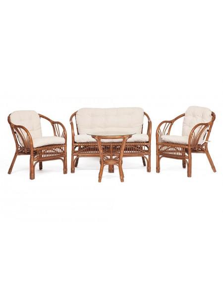 Комплект NEW BOGOTA ( диван + 2 кресла + стол со стеклом ) coco brown