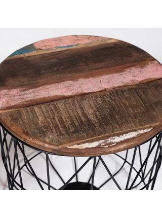 Набор из 2-х журнальных столиков Secret De Maison JIMMY ( mod. M-8141 ) металл/дерево манго, 45х45х45см/40х40х40см, винтажный/черный