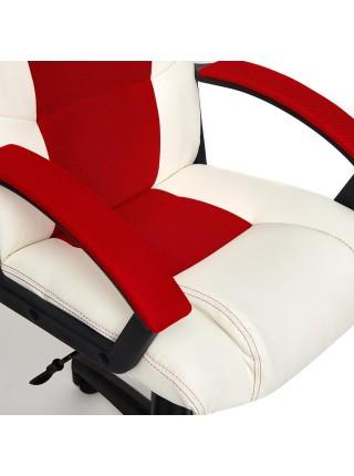 Кресло DRIVER кож/зам/ткань, белый/красный, 36-01/08