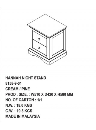 Тумба прикроватная HANNAH NIGHT STAND/ 8158-9-01 CREAM/PINE АКЦИЯ!!! СКИДКА 20%