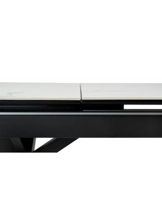 Стол ROVIGO 170 HIGH GLOSS STATUARIO Белый мрамор глянцевый, керамика/ черный каркас М-City