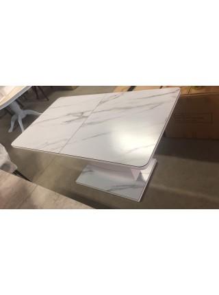 Стол ALTA 120 GREY-WHITE MARBLE/ WHITE глазурованное стекло М-City