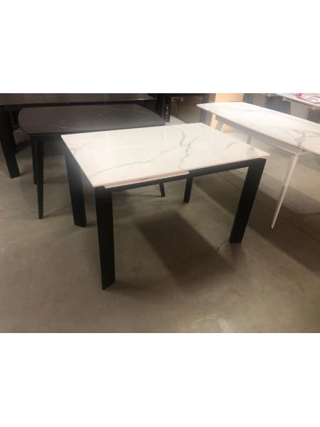 Стол CORNER 120 GLOSS STATUARIO WHITE SINTERED STONE / BLACK М-City