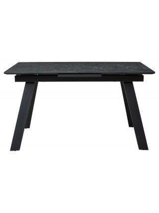 Стол Морис 140 Темно-серый мрамор матовый, керамика / черный каркас М-City