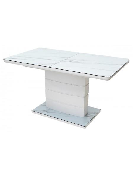 Стол ALTA 140 GREY-WHITE MARBLE/ WHITE глазурованное стекло М-City