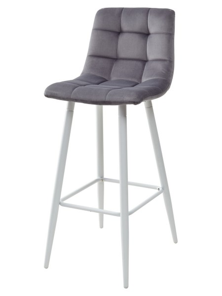 Барный стул LECCO UF910-05 DARK GREY, велюр/белый каркас М-City